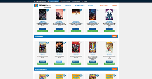 Diamond Comic Distributors, PREVIEWSworld, Pullbox, pull and hold